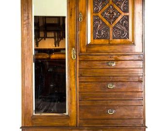 B688 Antique Victorian Mahogany Gentleman's Armoire, Wardrobe, Dresser, Storage Cabinet