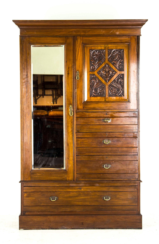 antique mahogany armoire storage cabinet wardrobe. Black Bedroom Furniture Sets. Home Design Ideas
