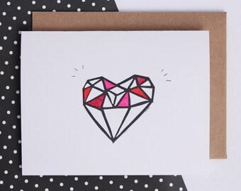heart card, valentines, romance, engagement card, wedding, best friends, diamond heart