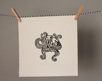 octopus, octopus print, marine art, ocean, marine life, linocut, black and white art, home decor, wall art