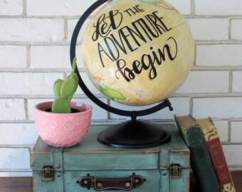 "12"" cream globe ""let the adventure begin"""