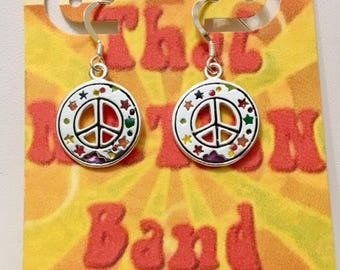 That NATION Band Sterling Silver and Enamel Peace Symbol Earrings with Star Designs
