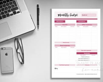 Monthly budget planner insert, printable. Month expenses register for binder. A4, A5, US Letter (8.5x11)Size. Instant download. Month budget