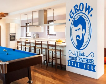 Bearded and Proud, Vinyl Wall Decoration, cute decal