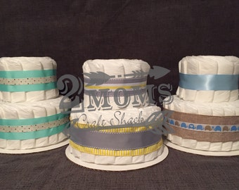 Custom Diaper Cake - Choose Colors for Baby Shower Gift or Centerpiece