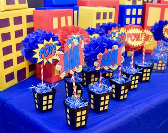 Superhero Cityscape Building Pot Centerpieces
