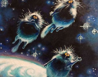 "painting ""Space cats"""