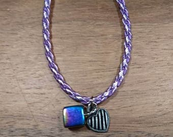 Purple leather cord bracelet