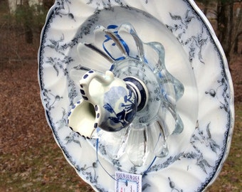 Antique 1880s dish!, Garden Flower,  Antique dishes, Pitcher, Yard Art, Birds, Garland (#87)