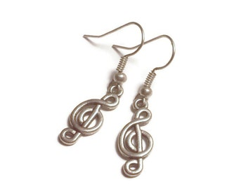Musical Note Earrings / Music Note Jewelry / Silver Tone or Sterling Silver Your Choice / Music Lover Gifts Under 5