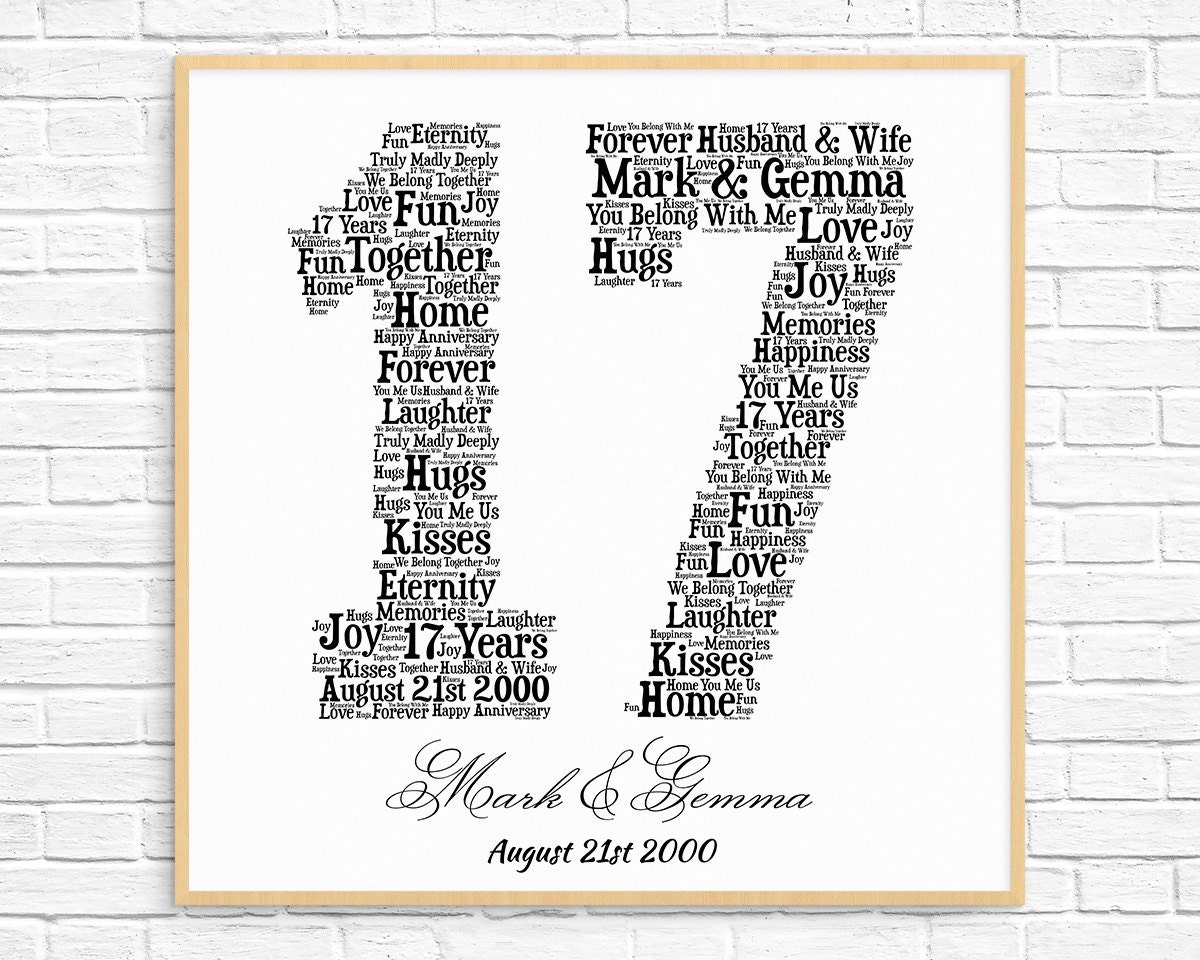 Gifts For 17th Wedding Anniversary: PERSONALIZED 17TH ANNIVERSARY Gift Word Art Printable Art