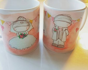 glittery bride and groom personalised mugs