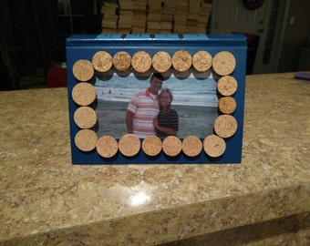 4 X 6 Book Picture Frame with Wine Corks Blue