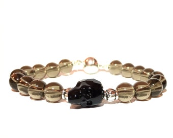 Smokey Quartz and Swarovski crystal skull bracelet
