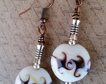 White and brown lamp-work bead earrings with copper and silver/hypoallergenic/nickel-free/Handmade/Copper Witch Designs/Free Shipping