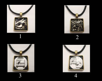 """Black and white glass cabochon pendants on 18"""" or 22"""" black 3mm cord necklaces"""