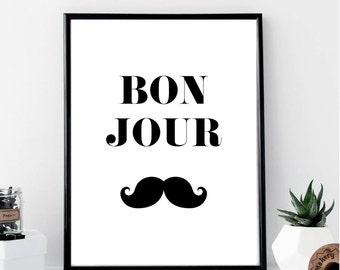 Bonjour Moustache Print // Minimalist // Wall Art Print // Watercolor // Fashion // Scandinavian Poster // Boho // Modern Office // Chic