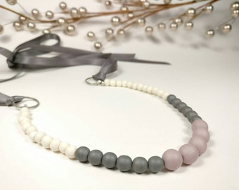 Petite LAVENDER EARL GREY - Matte Lavender Pink and Matte Silver Grey Glass Beads with Natural Whitewood Beads Ribbon Tie Necklace