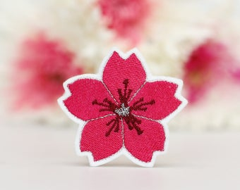 Flower Patch -  Iron On Patch - Pink Embroidered Patch