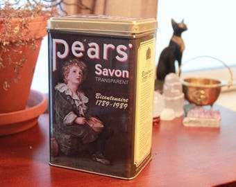 Vintage Pears Soap Tin - Art Nouveau - Antique Storage - Soap Bathroom Decor Ornate Box