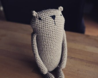 "Amigurumi crochet pattern "" Mr. Luiwood "" *big size*  bear beaver * languages: english and german * PDF"