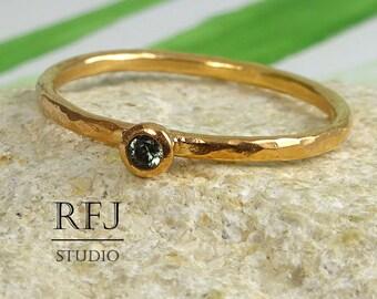 Hammered Lab Tourmaline Rose Gold Ring, October Birthstone 2mm Lightgreen CZ 14K Rose Gold Plated Ring Tourmaline Birthstone Rose Gold Ring
