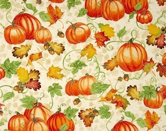 "Pumpkins Fabric: Harvest Bounty Pumpkin and Leaves Ecru on Cream 100% cotton fabric by the yard 36""x43"" (N639)"