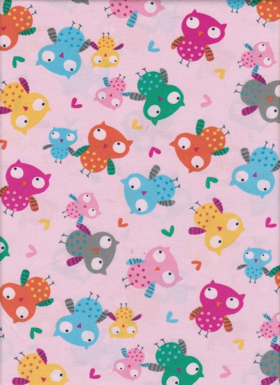 Nursery fabric set owls pink by timeless treasures fun for Nursery cotton fabric