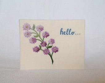 Hello greeting card, hand embroidered in linen, made to order