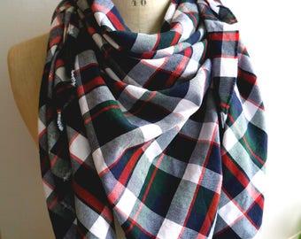 blanket scarf, tartan shawl coton flanel, scottish scarf, squares scarf, tartan scarf, oversized scarf, blanket shawl, kilt scarf, big scarf
