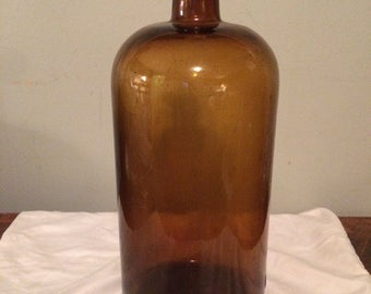 Antique Apothecary Bottle in Root Beer Brown Color