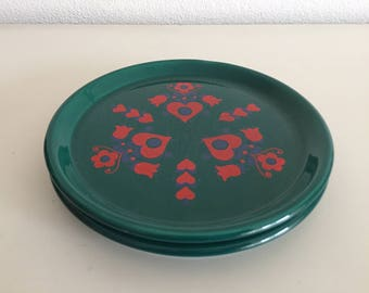2 Scandinavische borden retro groene borden green scandinavian vintage design plates