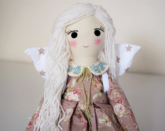 Spring sale,Fairy with wings, Handmade doll, Doll with wool hair,