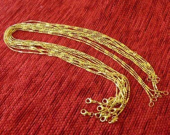 Necklace Chain, Ball Chain with Lobster Clasp, 1.5mm Fine Gold Plated Ball and Bar Chain, Jewelry Findings, DIY Jewelry