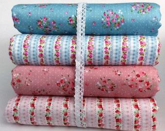 Shabby Chic Style Rose Print  Pastel Blue/ dusky Pink Fabric,  per fat quarter/per half meter/per meter/ Fat quarter/ bundle