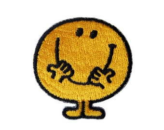 Smiley Smile Happy Face Embroidered Applique Iron on Patch 4.4 cm. x 4.5 cm.