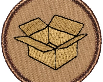 Cardboard Box Patch (489) 2 Inch Diameter Embroidered Patch