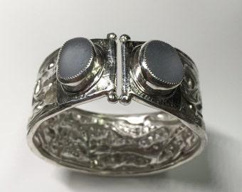 Fine Silver Periwinkle Blue Sea Glass Bracelet