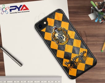 Harry Potter Phone Case - Personalized with a Name Hufflepuff House of Hogwarts Checkerboard Phone Case for Apple iPhone & iTouch Devices
