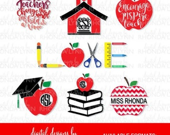 SALE! Teacher SVG, DXF, jpg, png pdf cut files | Teacher Monogram | Chevron Apple svg | Book Monogram | School Love svg | Apple Monogram
