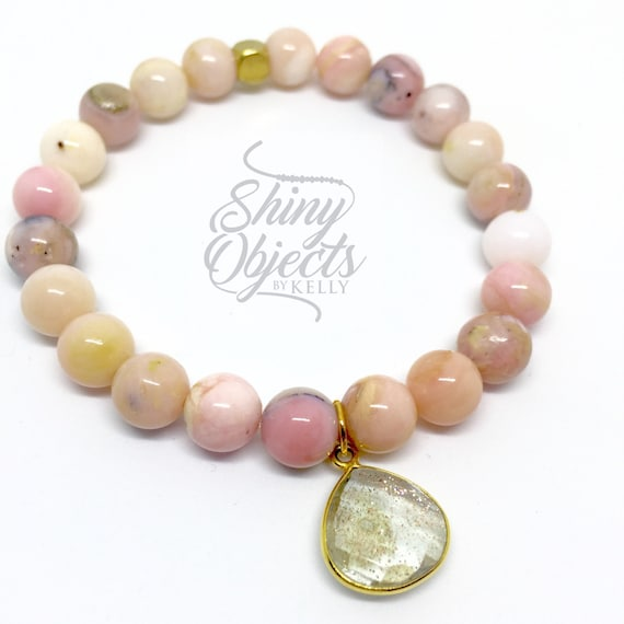 Peruvian Pink Opal Bracelet with Copper Infused Charm