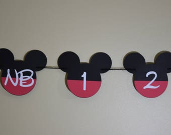 Mickey Mouse Banner, Mickey Mouse Birthday, Mickey Mouse Milestone, Mickey Mouse Tags, Minnie Mouse Tags, Disney, Mickey Mouse Clubhouse