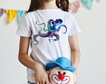 Octopus T-Shirt  - Animal Tee - Fashion T-shirt - White shirt - Printed shirt - Kids' T-shirt - Gift