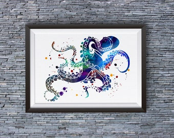 Colorful Octopus Print - Octopus Poster - Octopus Illustration - Octopus Art Wall Art - Home Decor