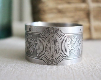 Vintage French Silver Minerva Napkin Ring - Grape Motif
