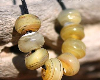 Banana Creme Brulee Organic Seeds glass lampwork beads for Jewelry Design