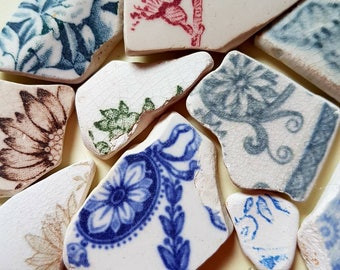 Scottish sea pottery, flower patterns
