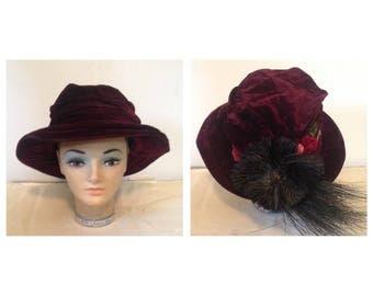 Antique Victorian Velvet Hat with Flowers