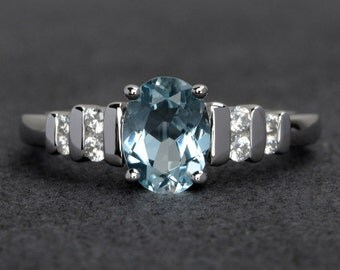 oval aquamarine ring blue aquamarine engagement rings silver promise ring March birthstone ring