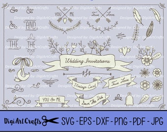 Boho Wedding Elements, Leafs, Calligraphy, Boarder, DIY Logo Set, Boho Clip art for scrapbooking, wedding invitations, Small Commercial Use